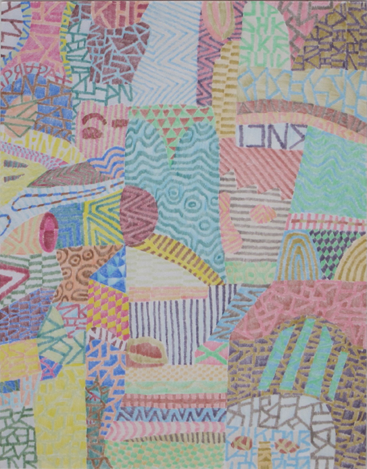 """Drawing No. 2                   2014 Colored pencil on paper 11"""" x 14"""" $1,400 (unframed)"""