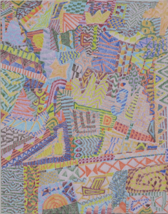"""Drawing No. 1                   2014 Colored pencil on paper  11"""" x 14"""" $1,400 (unframed)"""