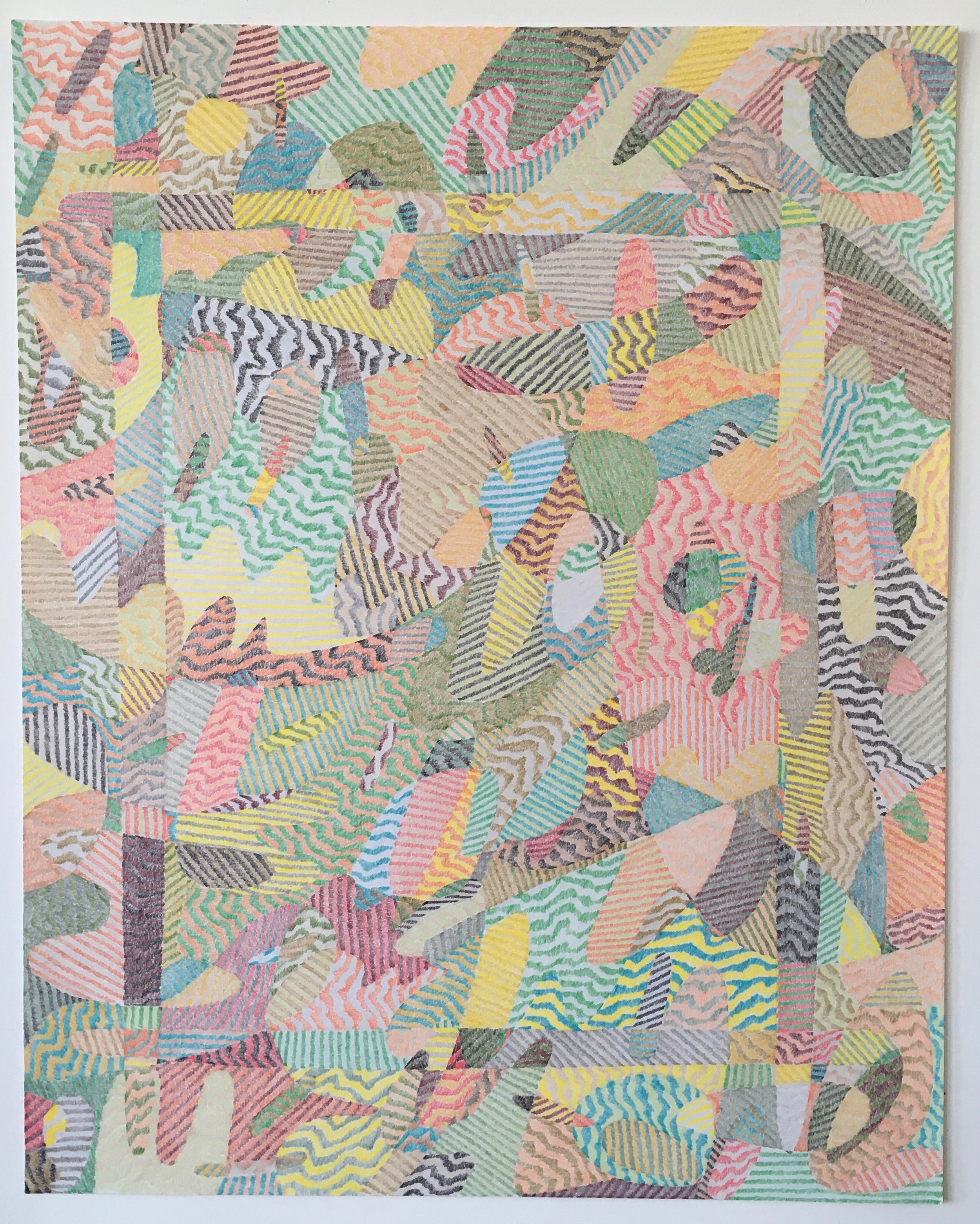 """Lg. Drawing No. 4            2016 Colored pencil on paper  19  """" x 24  """" $3,2  00 (framed)"""