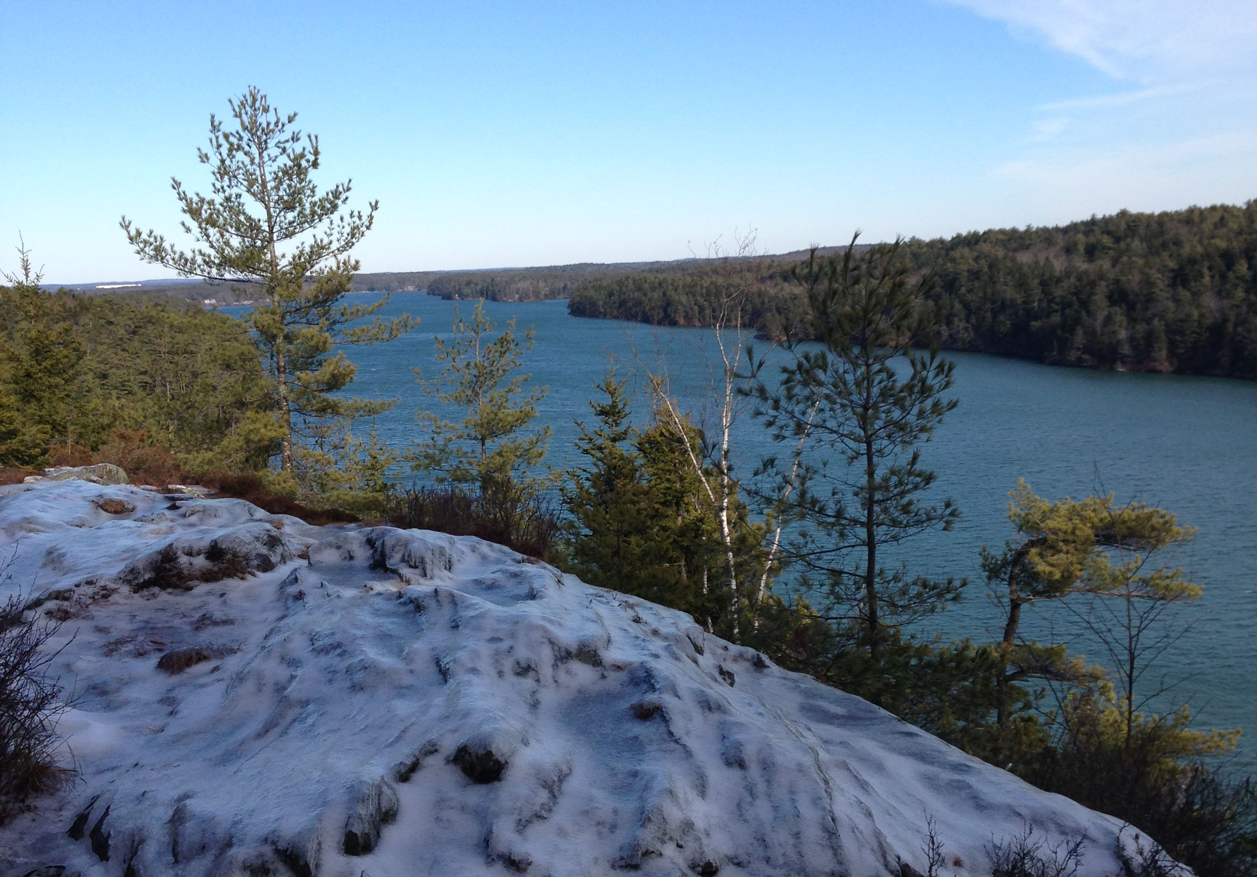 A view of Long Reach from the Cliff Trail in Harpswell