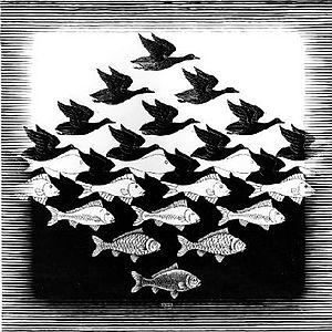 Sky and Water I;M.C Escher