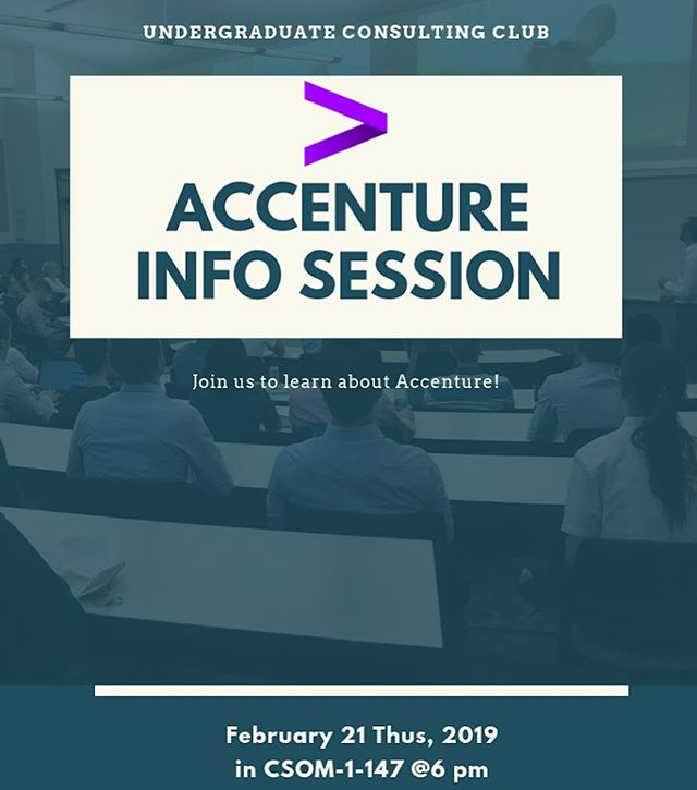 Come join us tonight @ 6pm CSOM 1-147 with Accenture! They will be having an overview of their company as well as time for discussion and questions. Pizza will be served.  Don't miss out on the chance to learn more about a great consulting company.