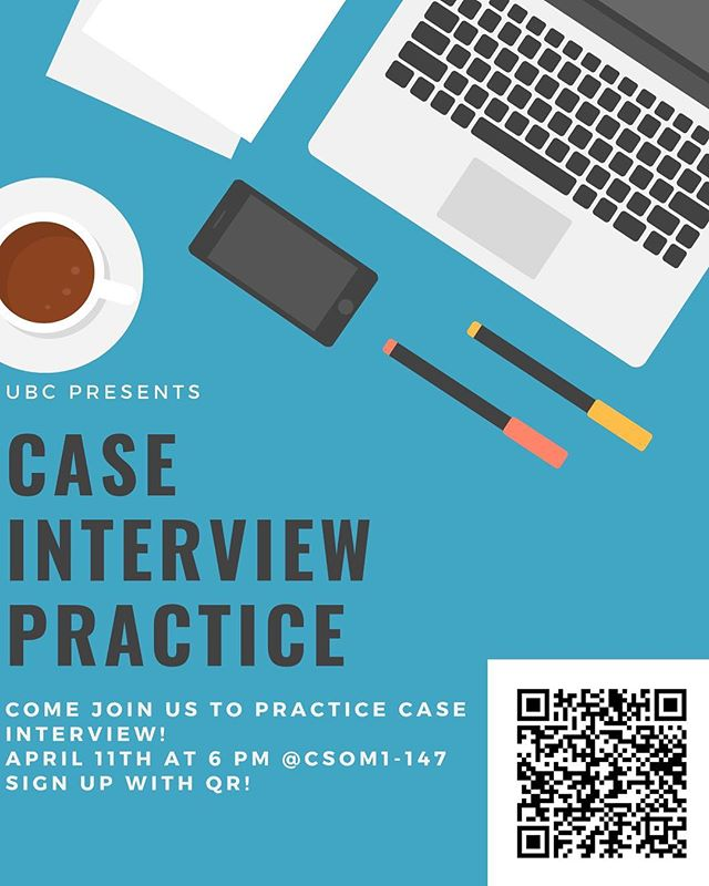 Join us tomorrow for case interview practice! We'll meet at Carlson 1-147 at 6pm and provide one-on-one case prep. This is a low stakes opportunity for getting a feel of how case interviews are. Please RSVP with the link in the bio or with the QR code!