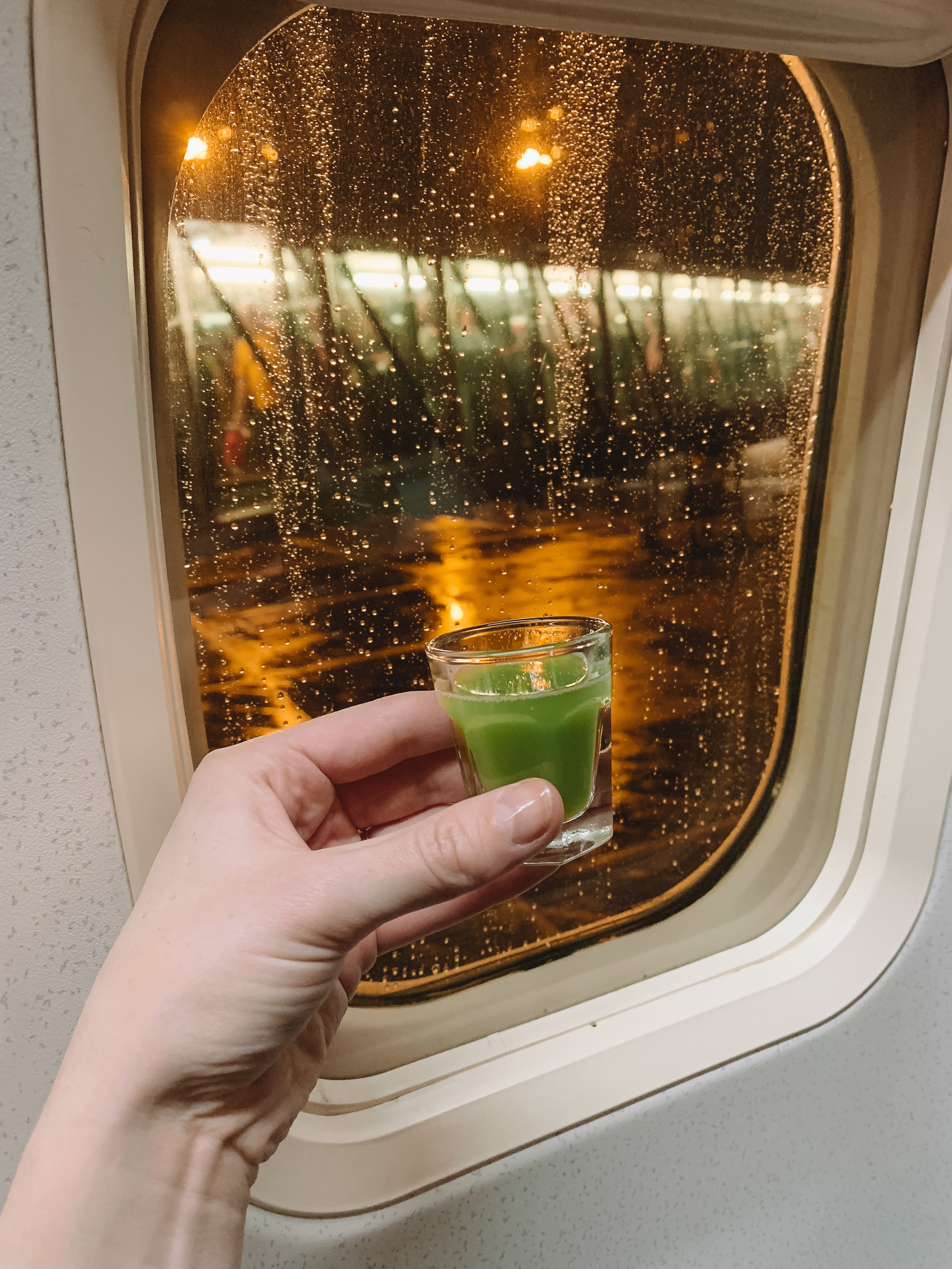On the bright side, since I wasn't asleep I saw the northern lights from the plane! I immediately woke Doug up and we spent the next hour or so just staring at them. I was surprised that the lights look green in the picture, in real life they looked white!