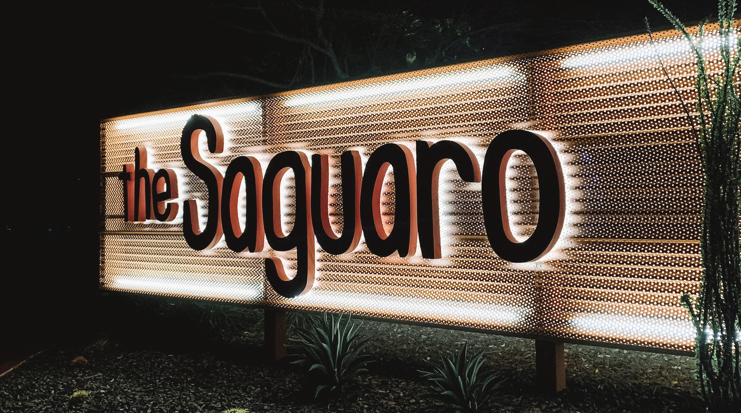 I wish we'd arrived earlier in the day, it was already dark when we got in to out hotel, The Saguaro, isn't it the cutest?