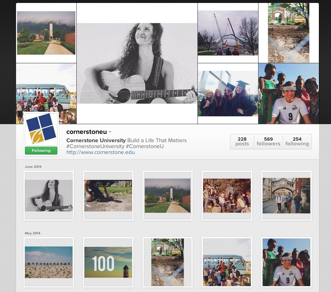 Cornerstone University Instagram