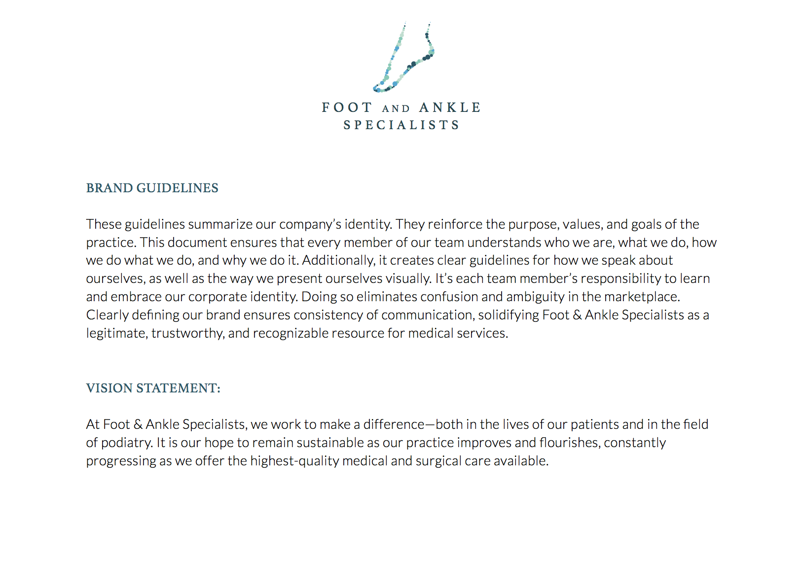 Foot + Ankle Specialists Brand Guidelines