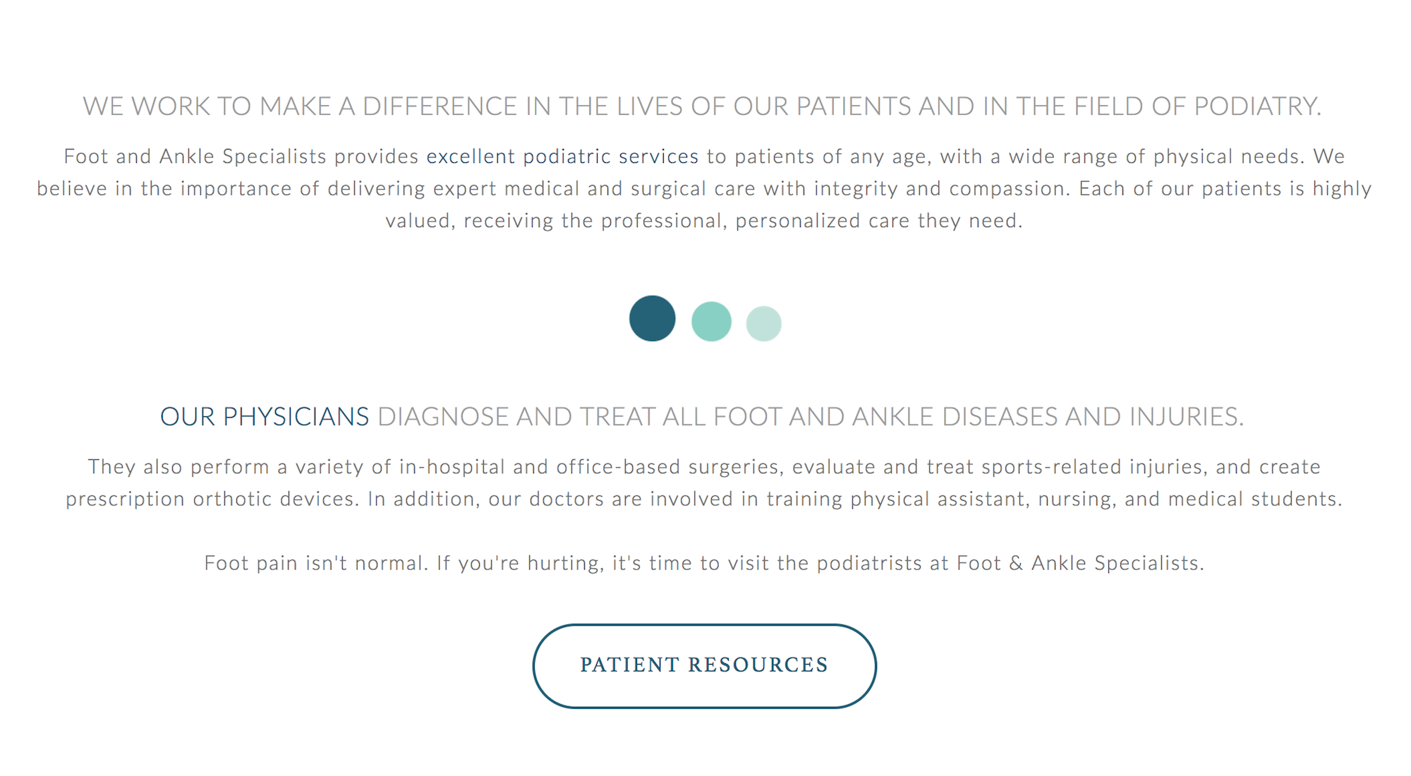 Foot  + Ankle Copywriting