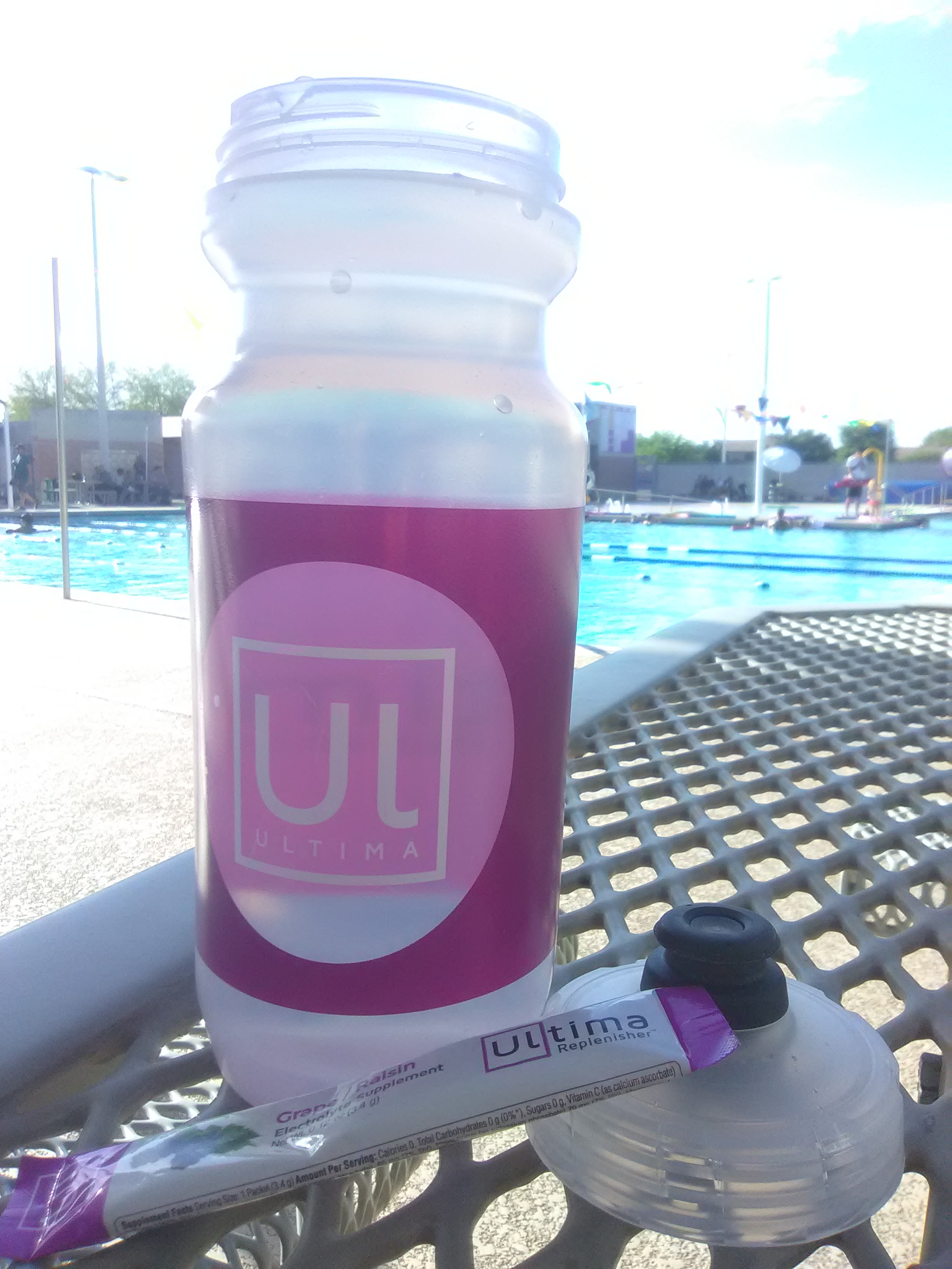 I took Ultima Replenisher in Grape with me while my son was in swim practice.