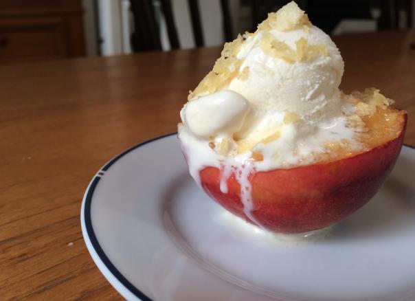 caroline's kitchen table - peach dessert