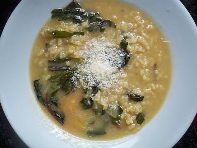 caroline's kitchen table - swiss chard risotto soup