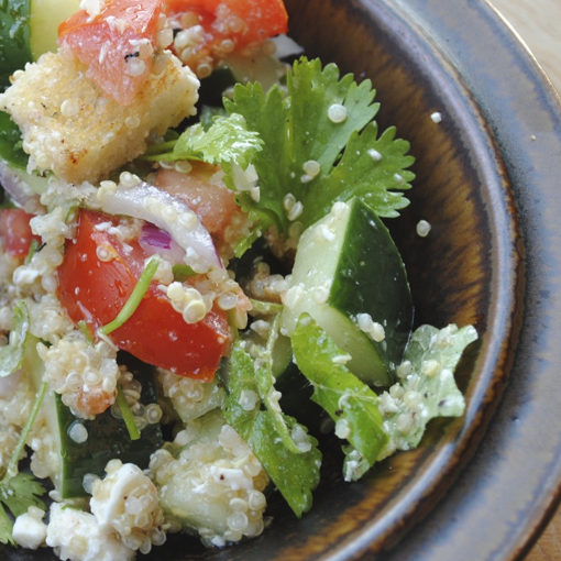 caroline's kitchen table - quinoa bread salad