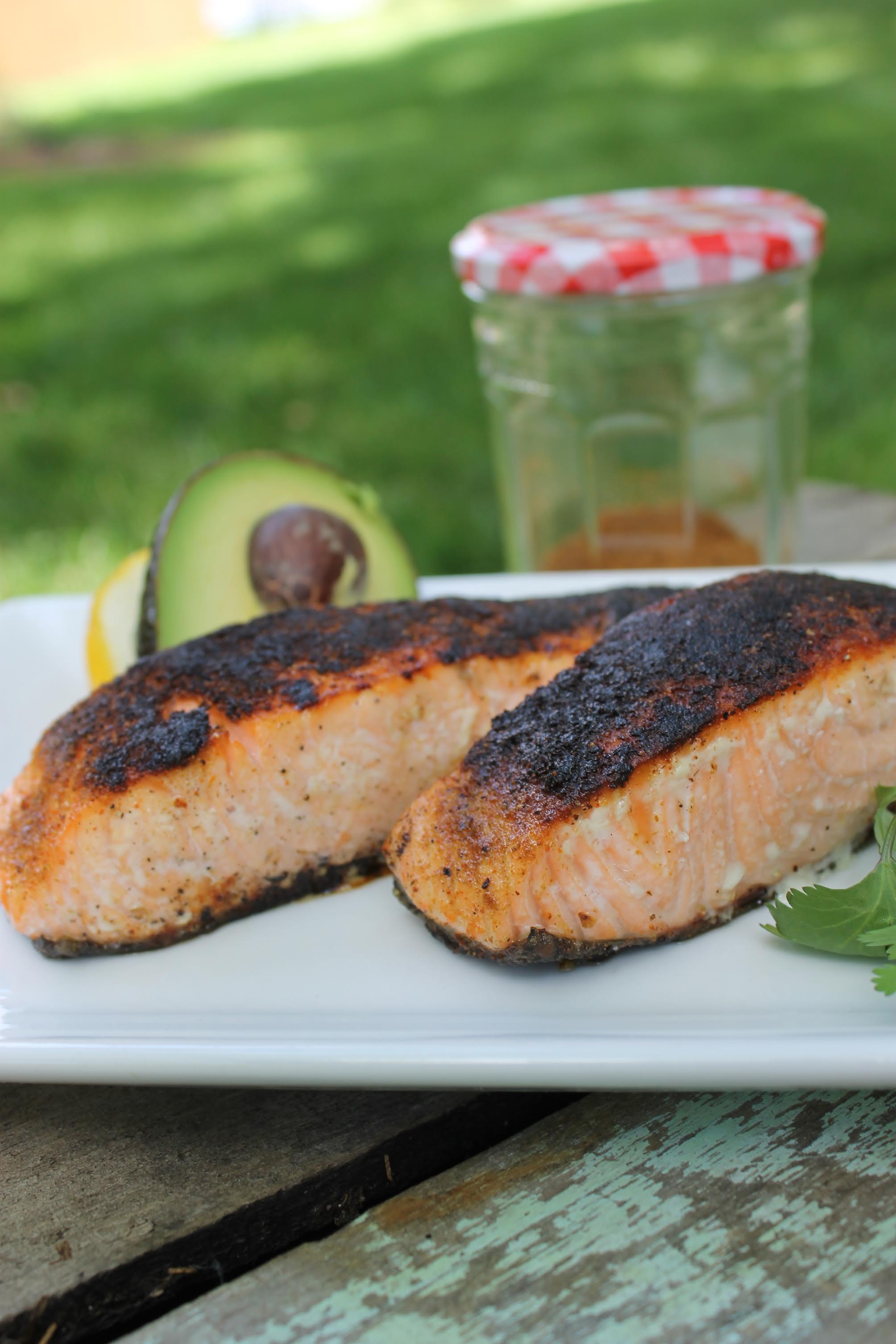 caroline's kitchen table - chili rubbed salmon