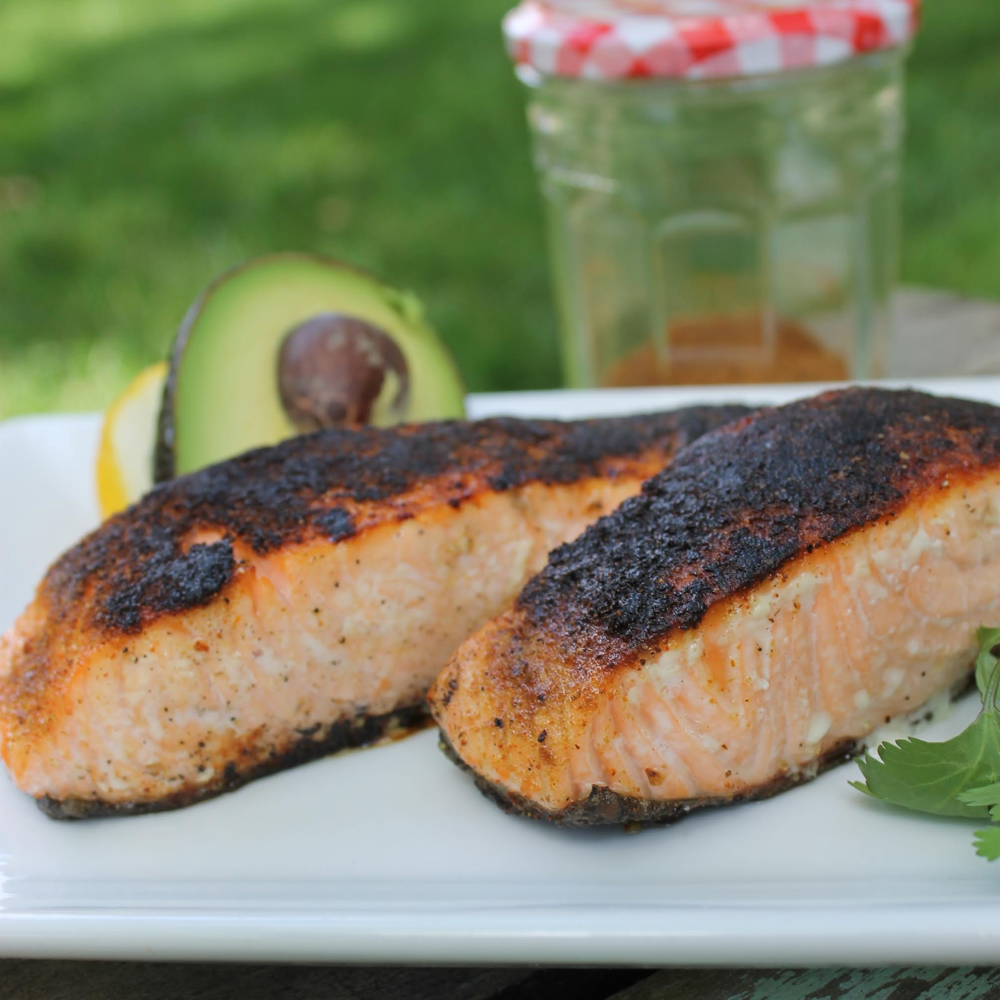 caroline's kitchen table - chili rubbed salmon