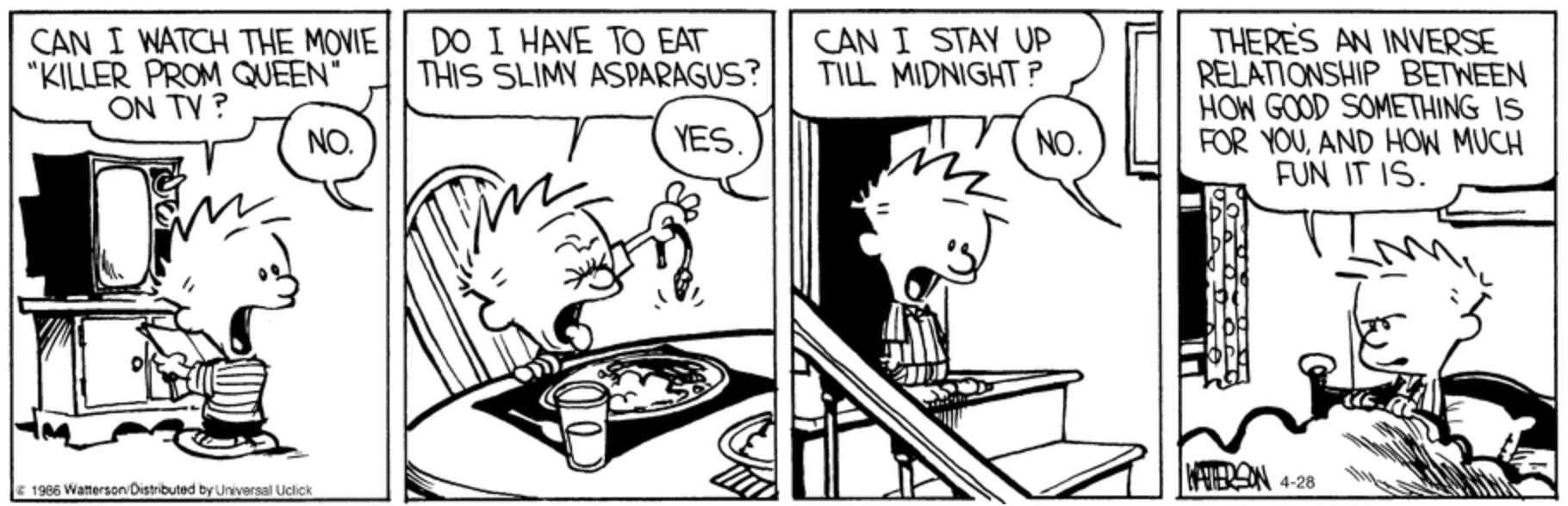 Calvin and Hobbes by Bill Watterson, April 28, 2016, via Go Comics