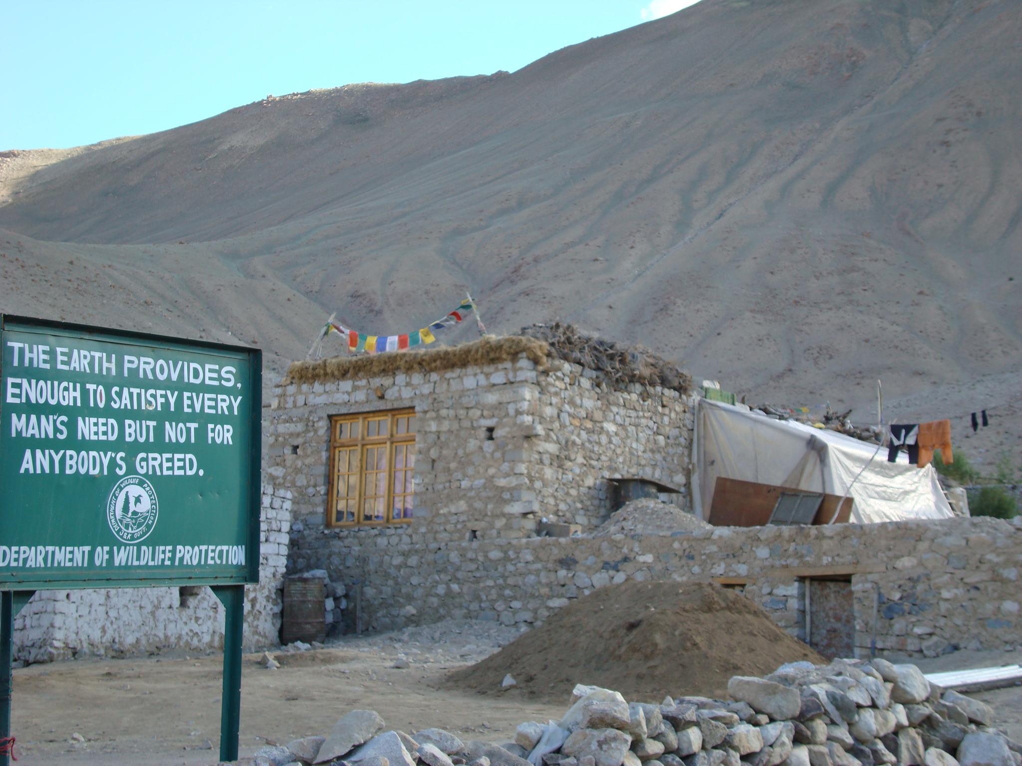 Sign board at Khardung village