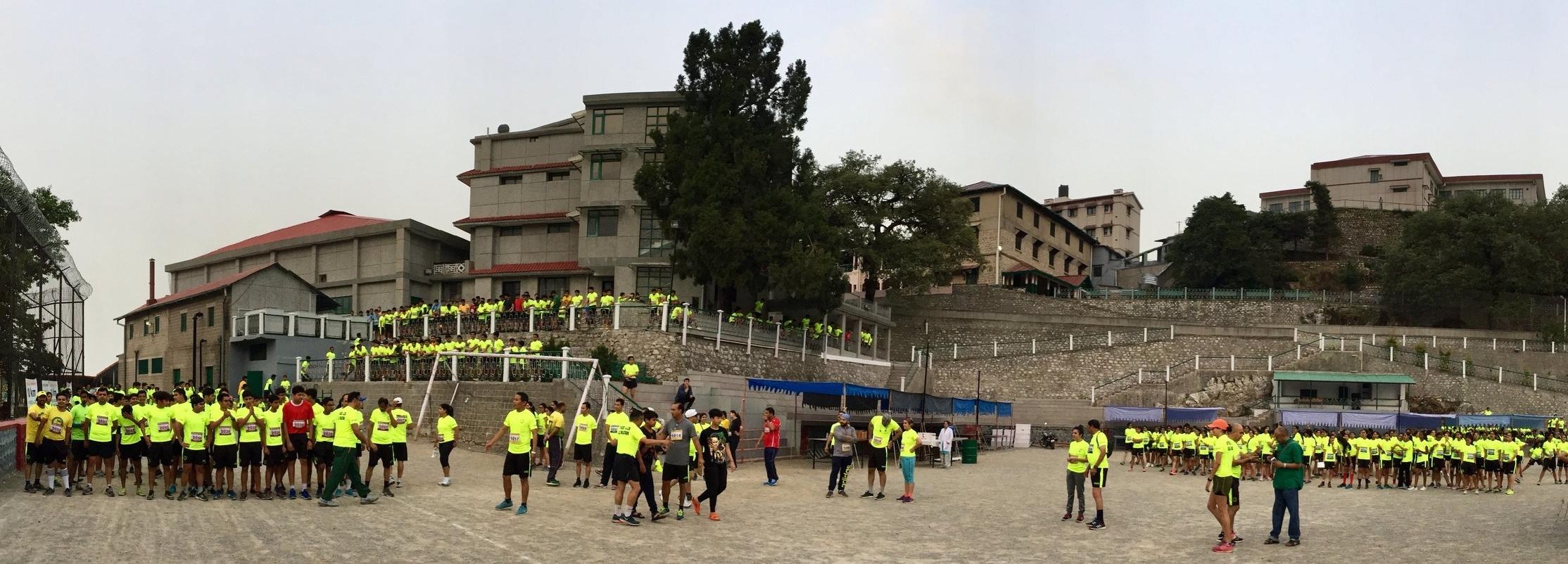 Before the start of 2017 edition of Wynberg-Allen School Half Marathon (5km, 10km & 21km) at Allen flats, Mussoorie.