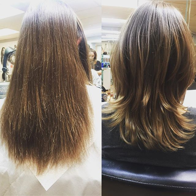 This winter can be brutal on your locks. Here are before and after pictures of when we used a protein treatment on a client's damaged hair! If your hair is in need of some hydration and love, schedule an appointment with us today!