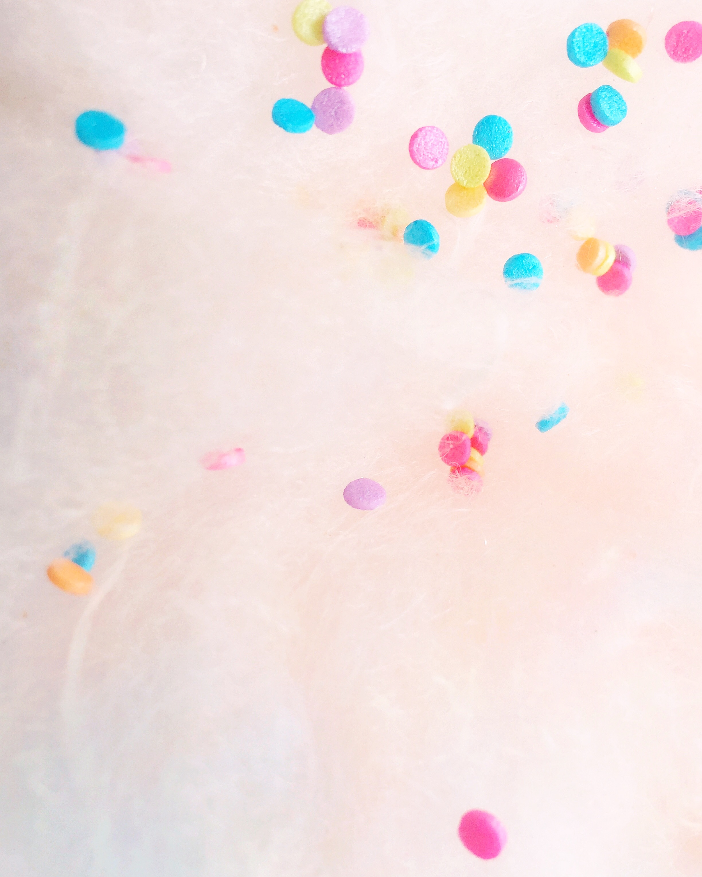 Shimmery Rainbow Confetti on Rose fluff + fluff
