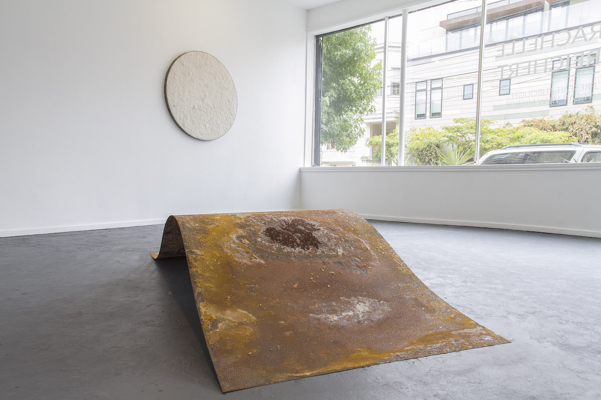 Rise into Ruin (or Whale) , steel, salt, 18 x 120 x 48 inches, 2017   Salt Circle 1 , SF Bay salt, resin on panel, 48 inch diameter, 2017
