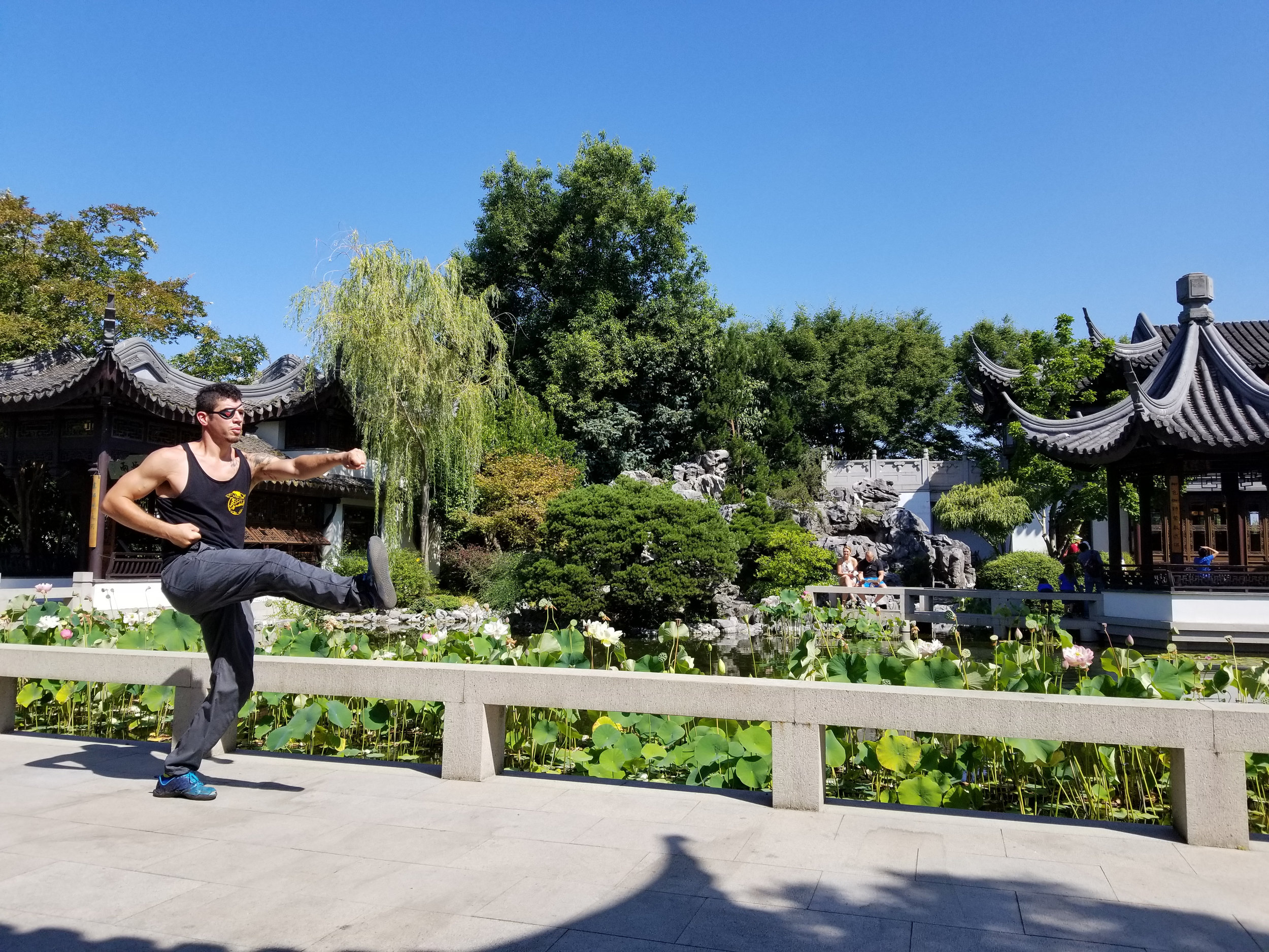 Joey warms up before teaching his class: Beijing Internal Kung Fu at the Lan Su Chinese Garden. Every Tuesday 10am - 11am.
