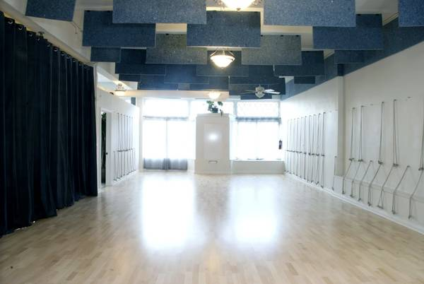Front half of our floor with dividing curtain up