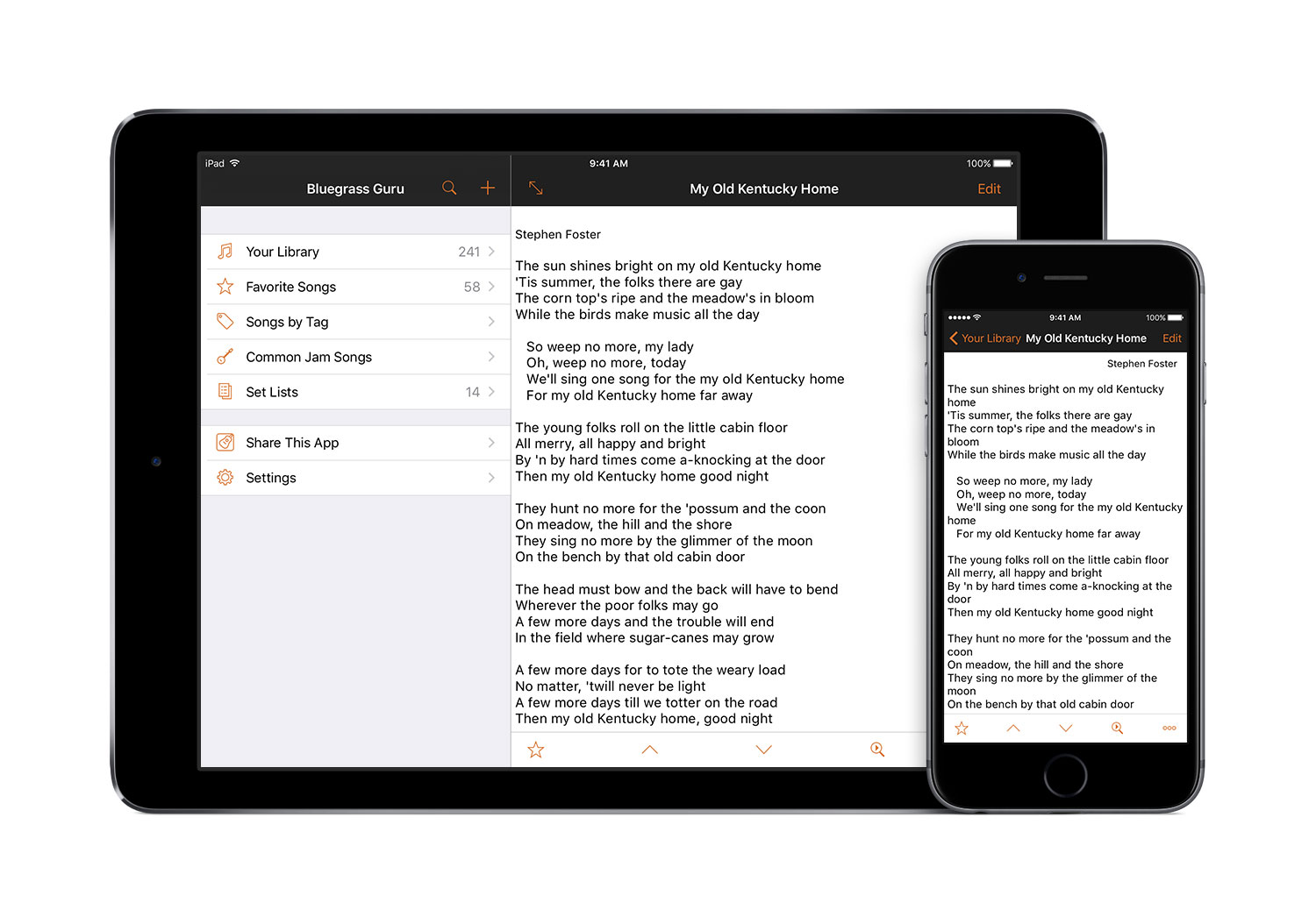 Keep your song library synchronized between iPhone and iPad with a Guru Membership (premium subscription feature).