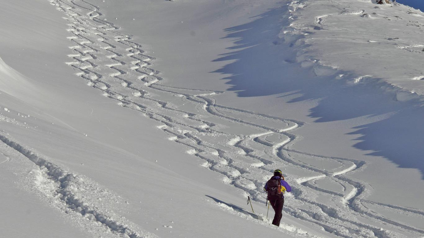Backcountry skiing Asahi Dake