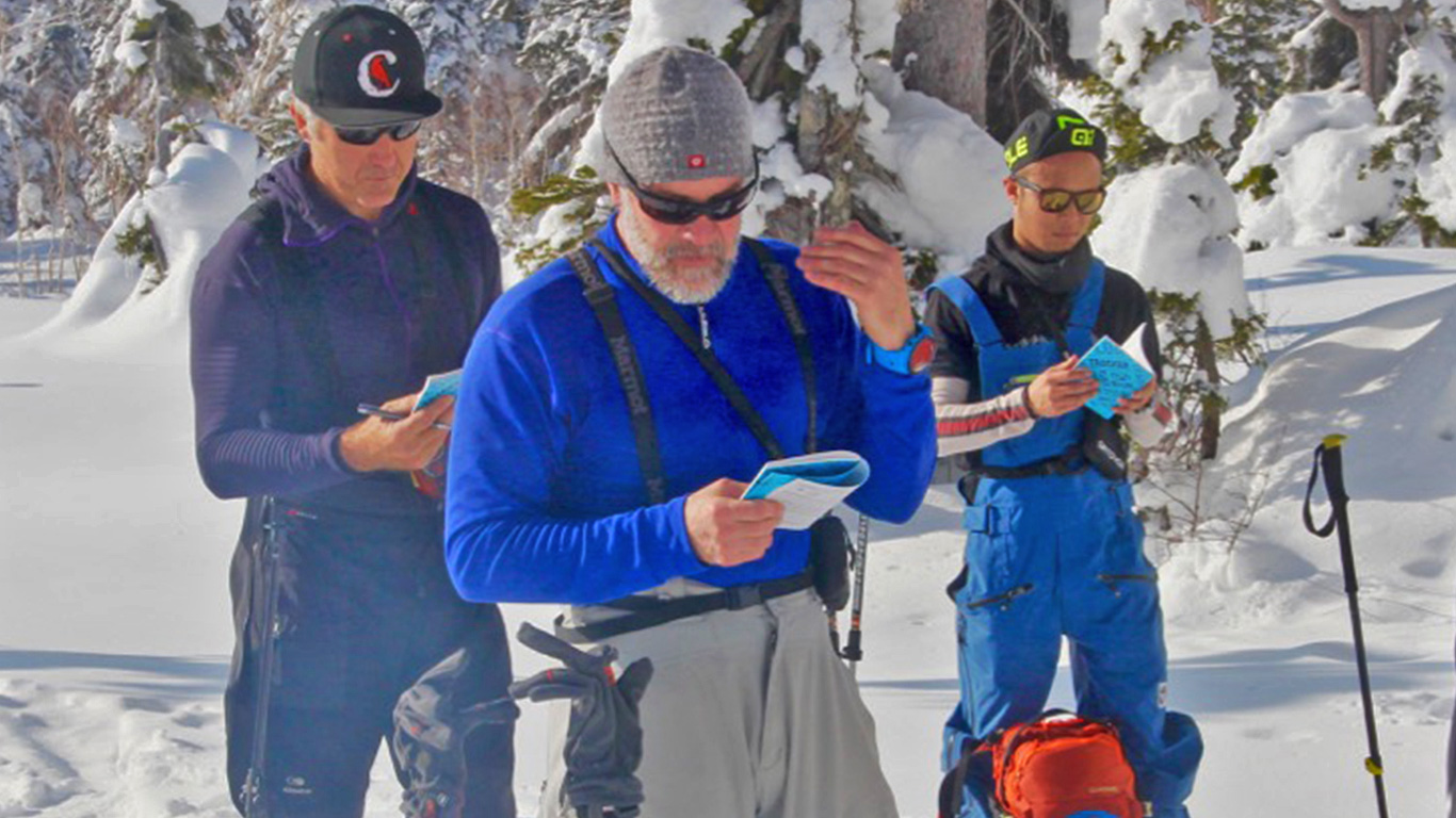 Avalanche Forecaster & Trainer, Al Mandell, with guiding students.