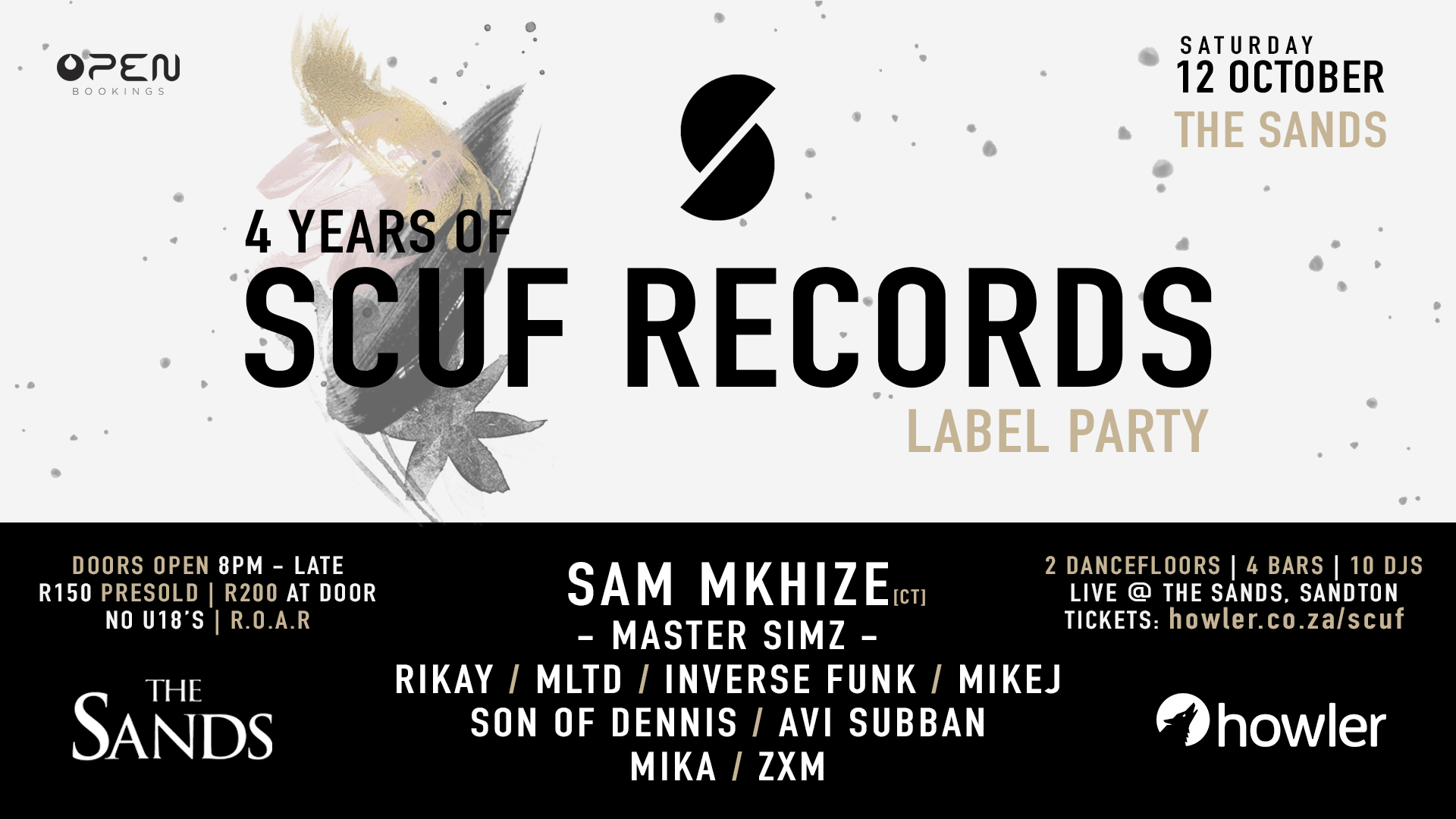 12 OCTOBER 19 - SCUF LABEL PARTY LIVE AT THE SANDS SANDTON.