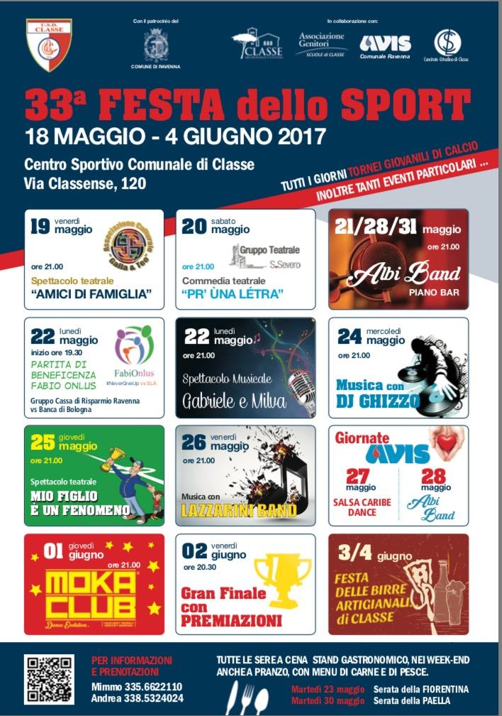 Locandina 33 Festa dello sport di Classe