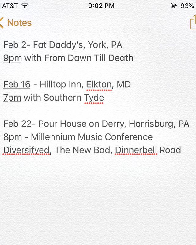 Here's our schedule for February. Going to be great getting the wheels rolling again. If you're interested in booking the big fella and the boys, feel free to message us. Let's do it big for 2019! #livemusic #workingband #comingtoastagenearyou #countrymusic #countryrock