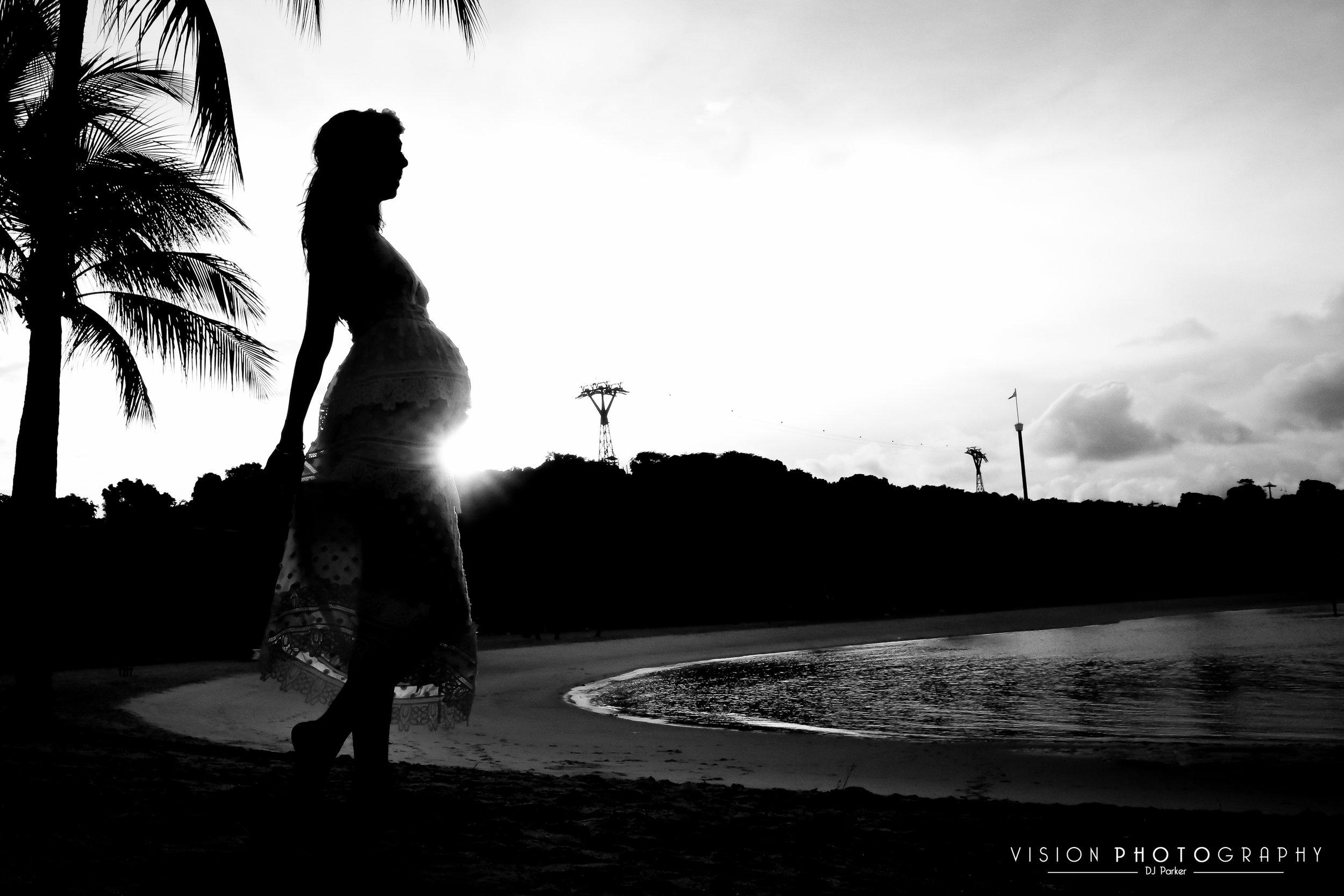 Outdoor maternity sentosa silhouette