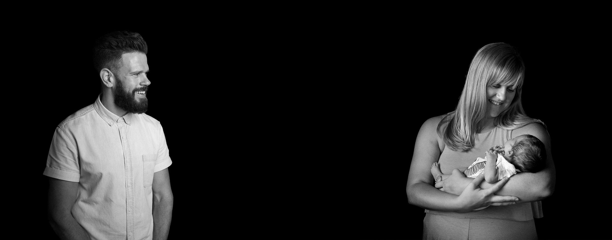 Newborn studio photography black background