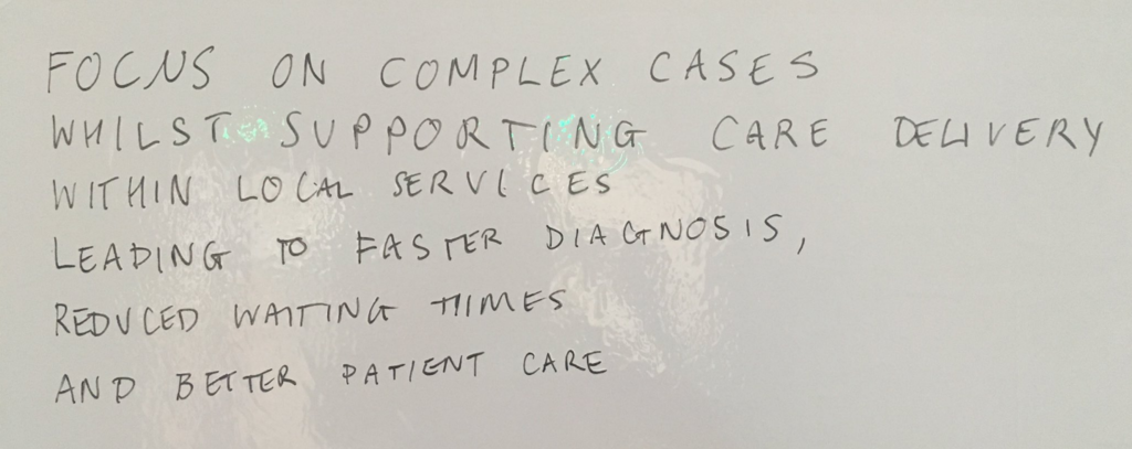 'Focus on complex cases whilst supporting care delivery within local services leading to faster diagnosis, reduced waiting times and better patient care'