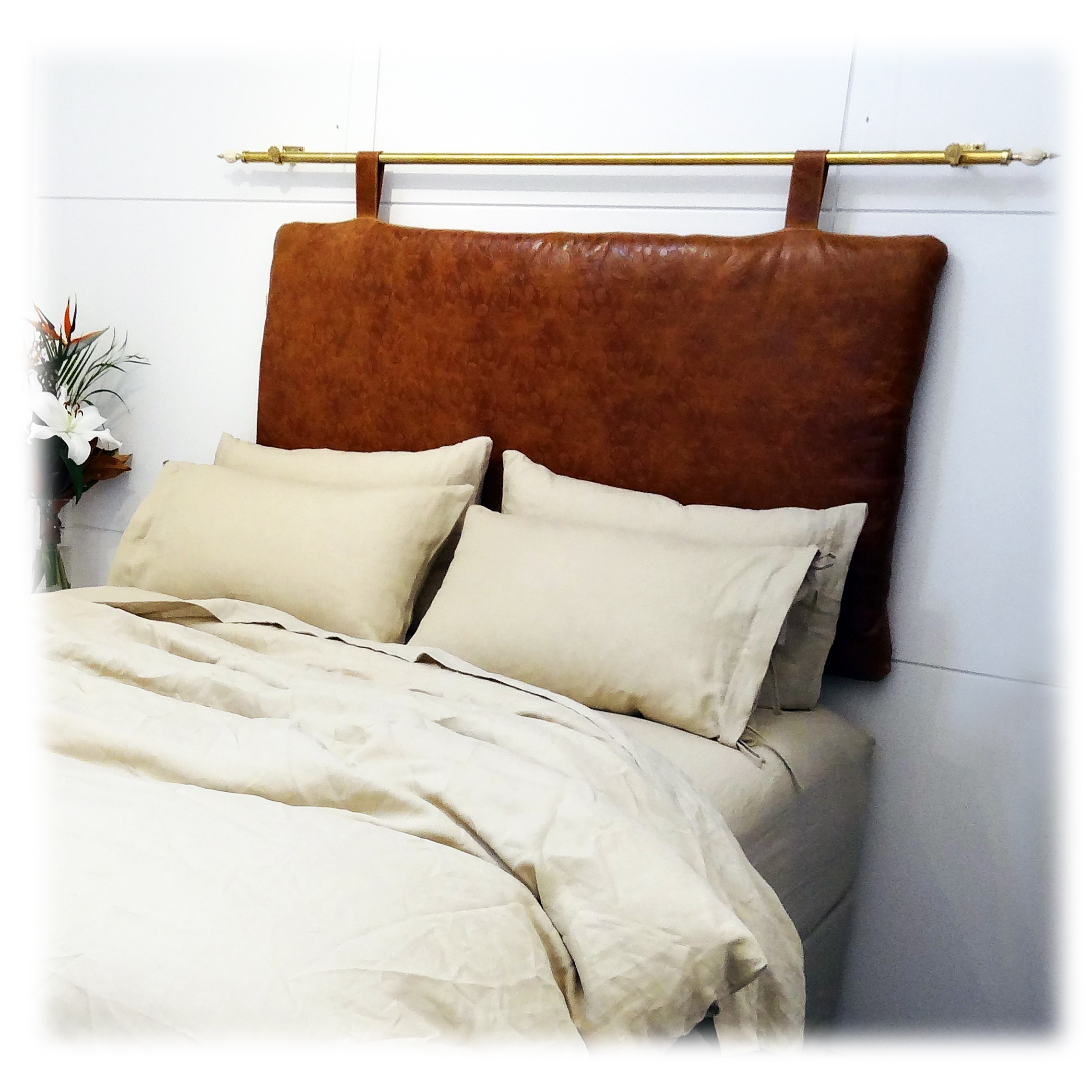Passion Flower and Brass Hanging Headboard