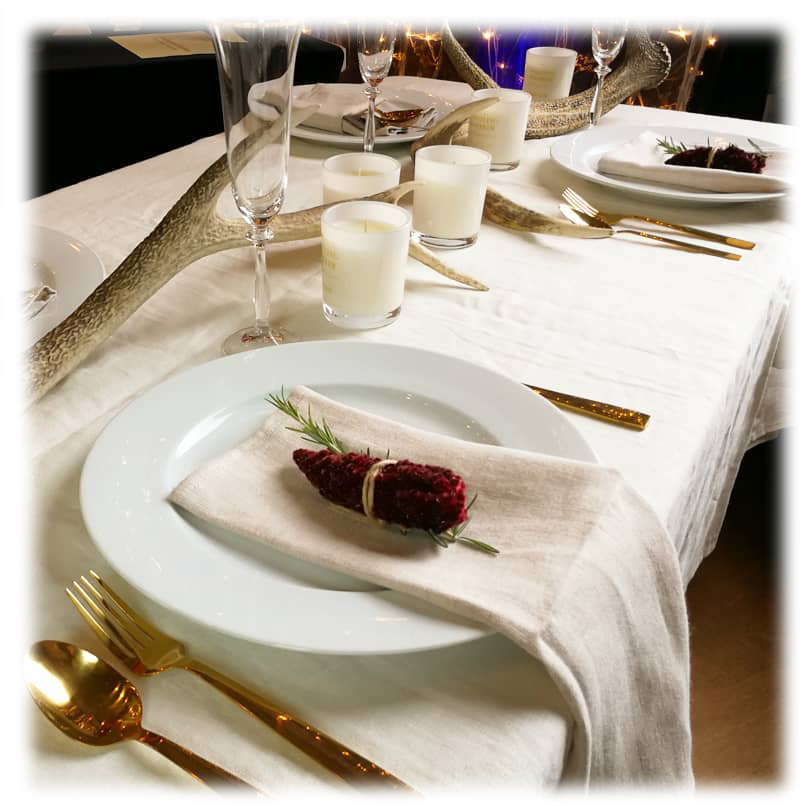 Whistling Reindeer Wanaka Belgian Linen Wedding Event Table Linen Hire Napkins