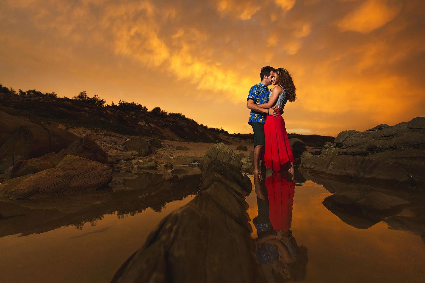 Fiery Sunset Couple Portraits