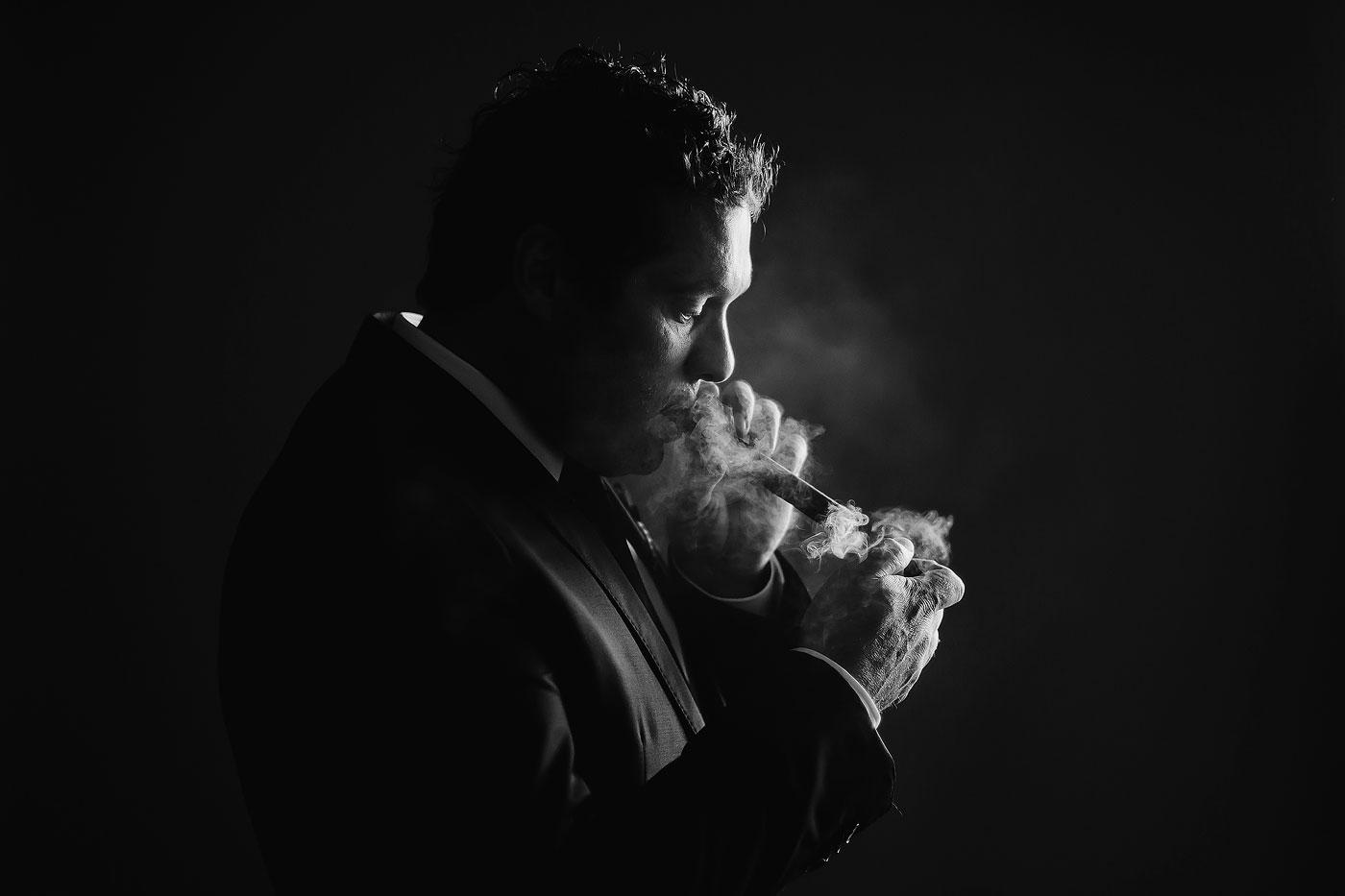 Smoking Groom Cigar Photo