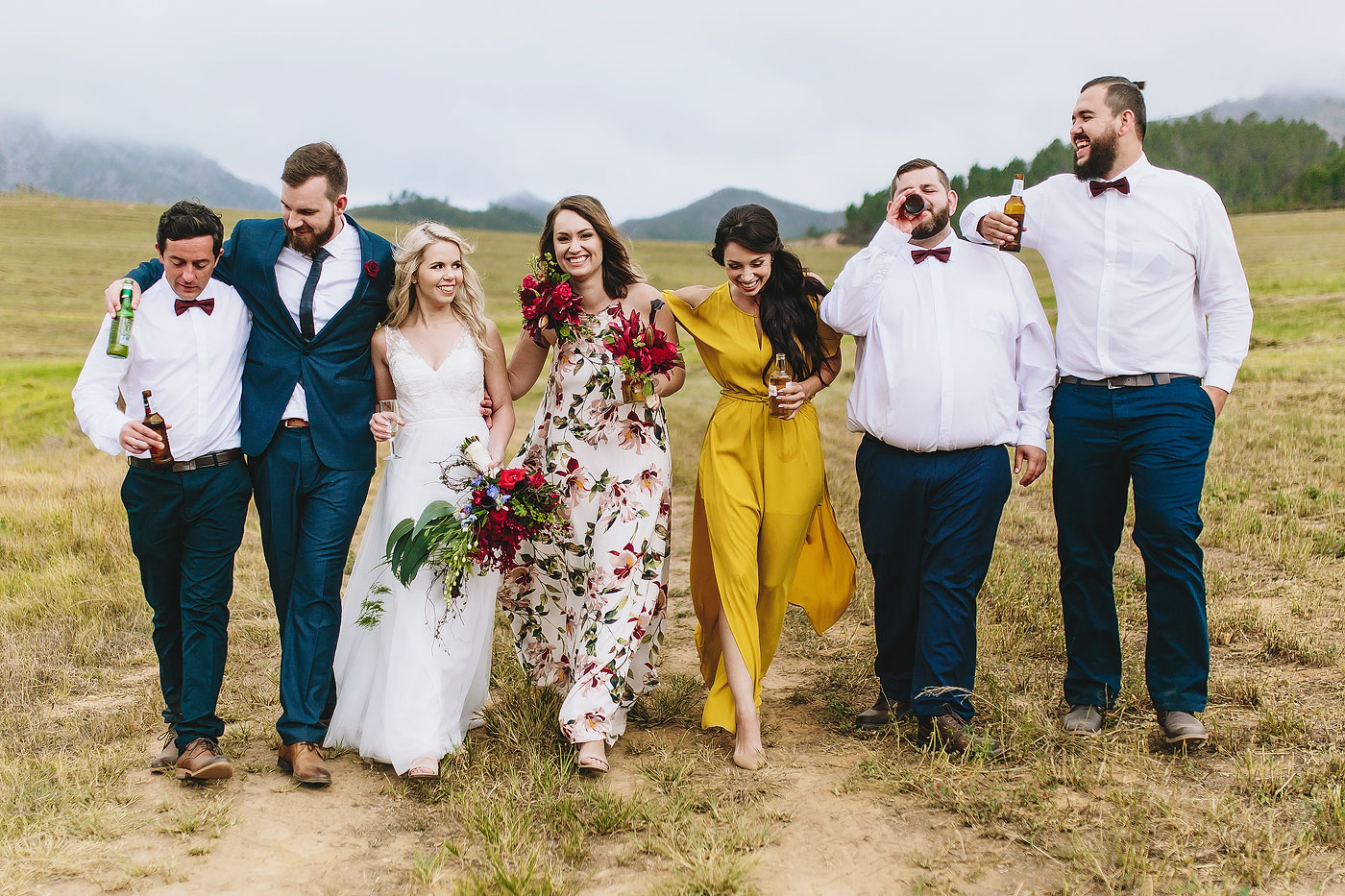 Fun Moment Bridal Party Porrait