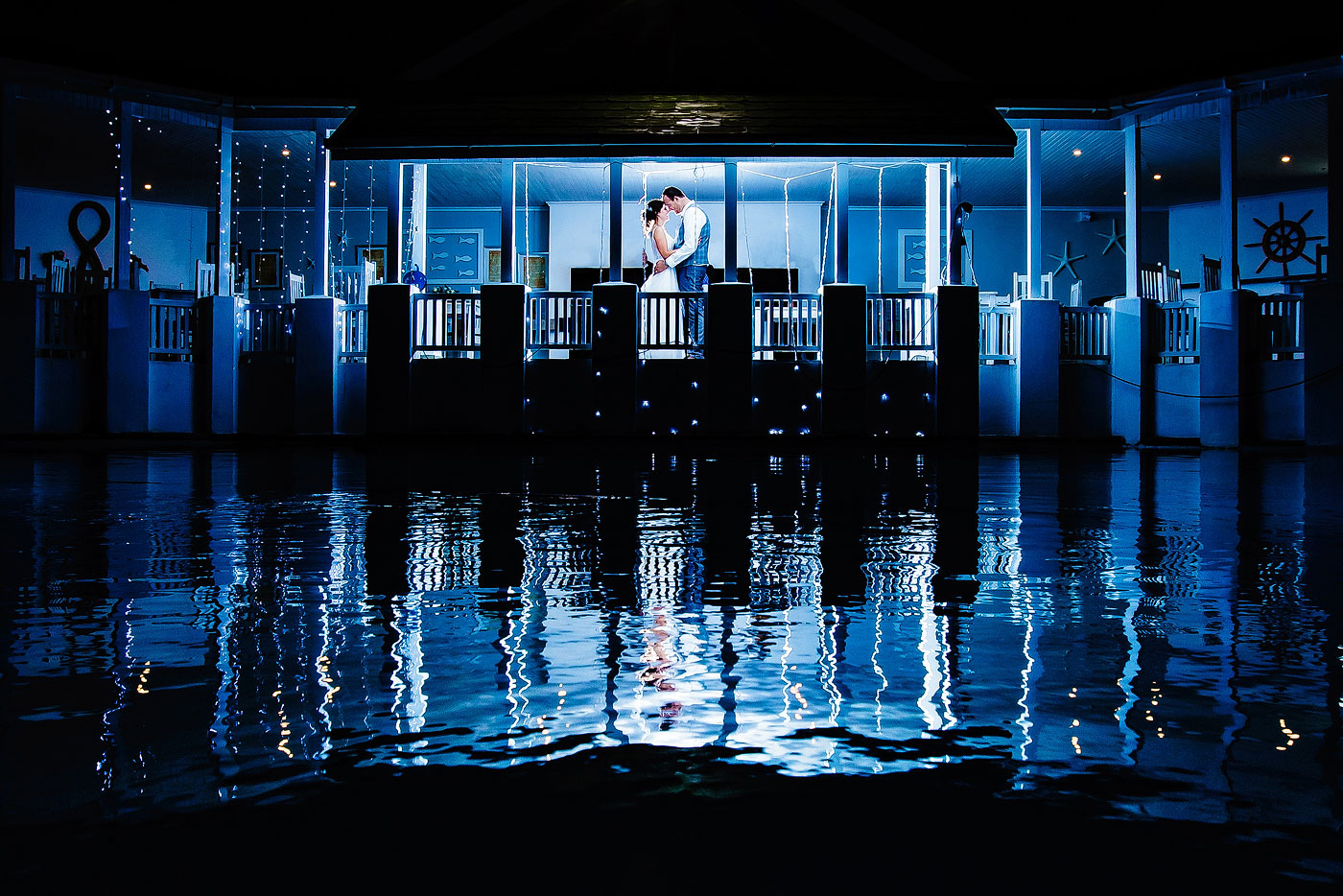 Water Inspired Blue Wedding Portrait at Night