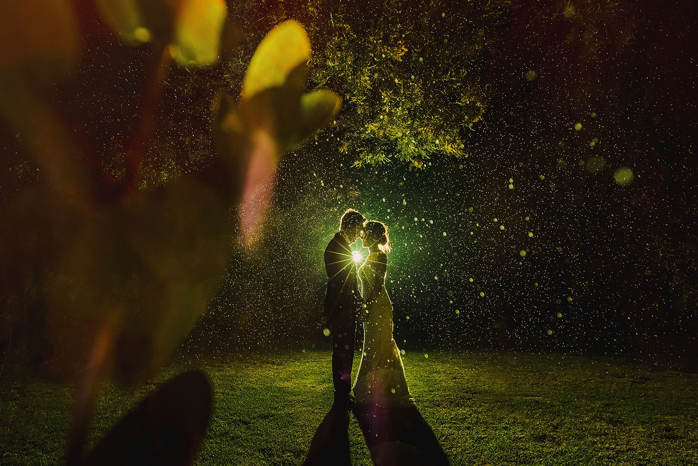 Incredible Night Time Rain Wedding Photo