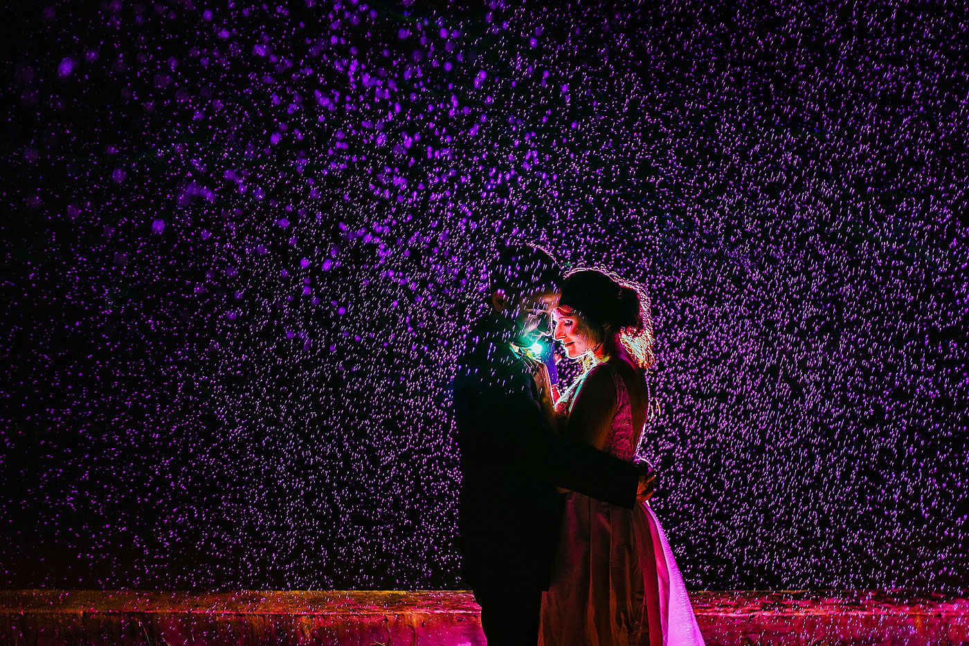 Rain Night Wedding Day Couple Photo