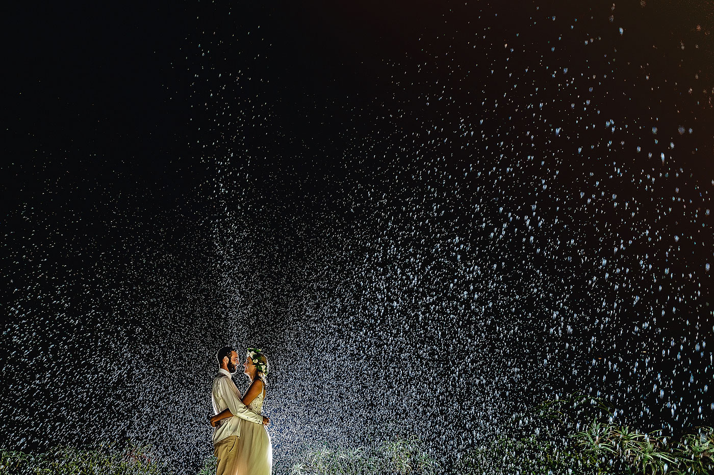 Rain Wedding Night Photography