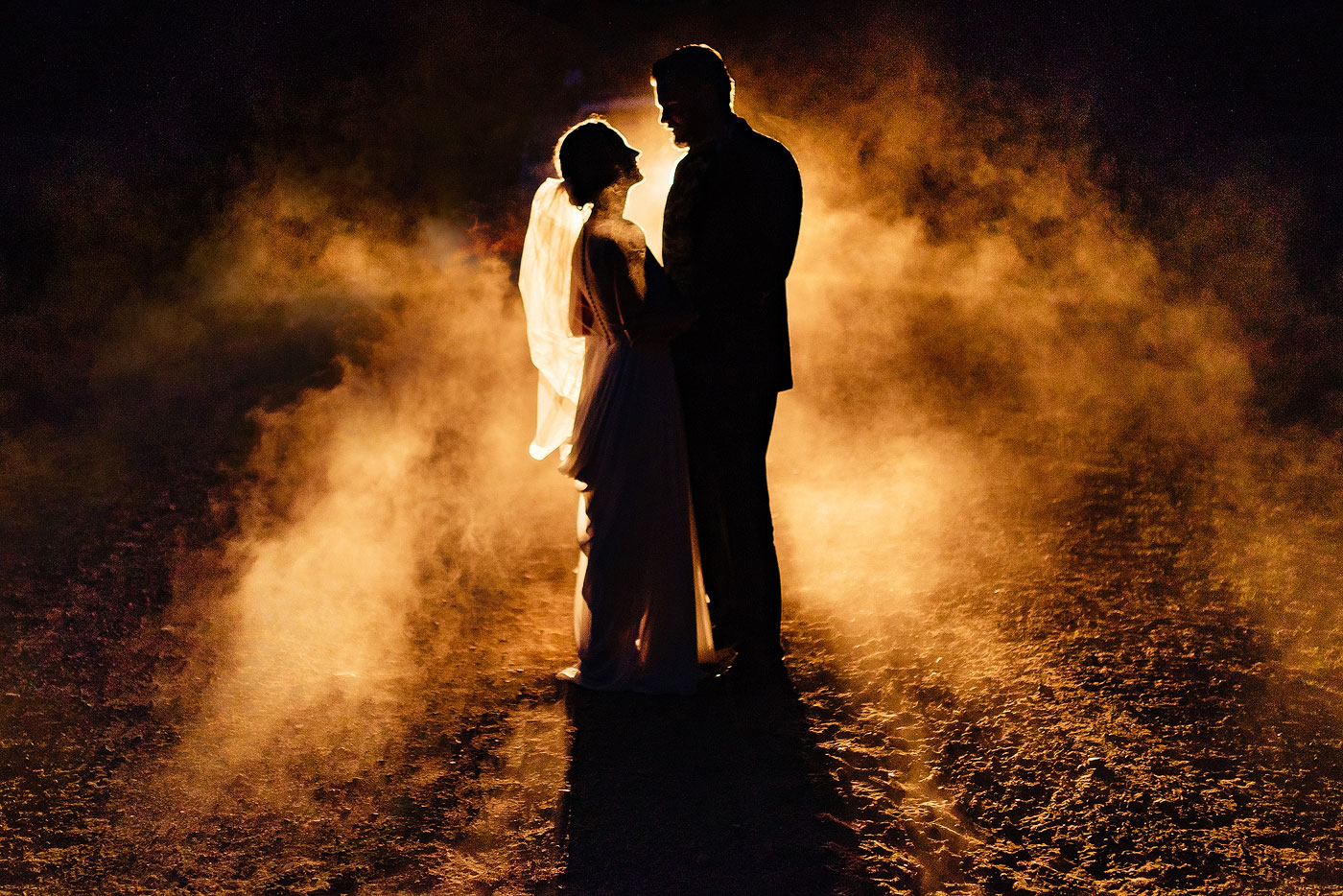 Creative Night Wedding Photo