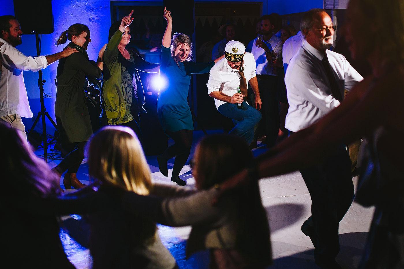 Guests dancing and having fun at a wedding