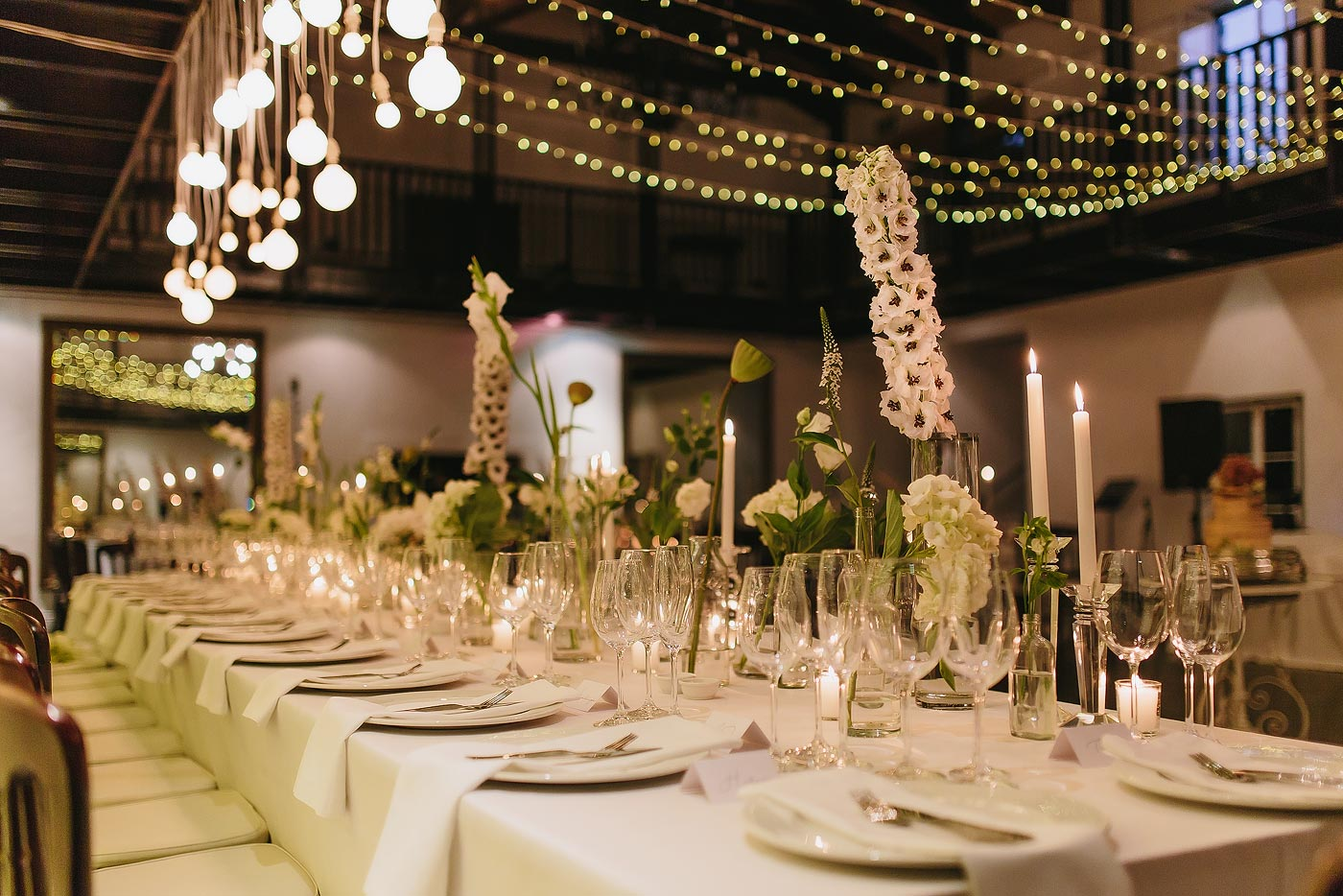 Elegant wedding decor with white flowers in Plettenberg Bay South AFrica.