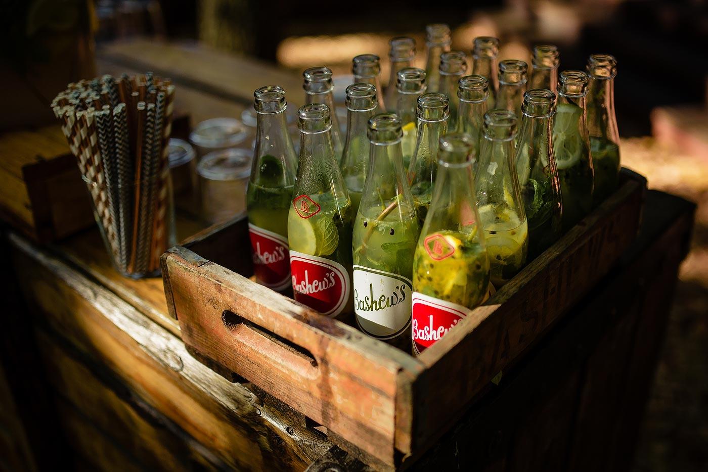 Wedding Pre-drinks in glass bottles