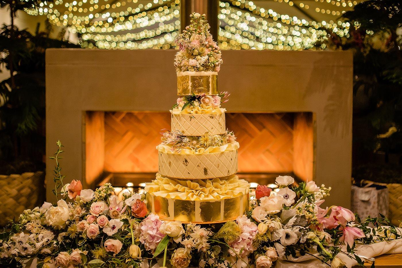 Elaborate, Elegant Gold Wedding Cake with flowers