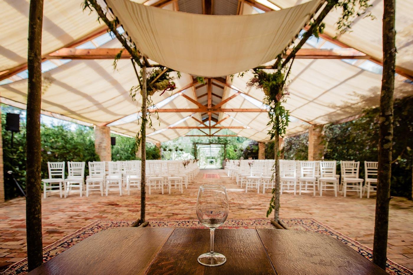 Jewish Wedding Chuppah Ceremony Decor with wine glass